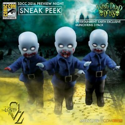 LIVING DEAD DOLLS IN OZ Set Of 3 Mini Munchkins Exclusive (11cm) New In Box! • 35£