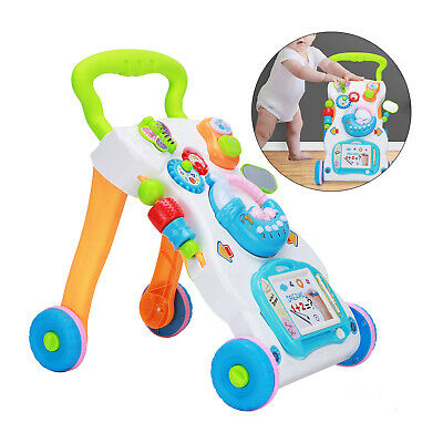 2in1 Baby Walker First Steps Activity Bouncer Musical Toys Car Along Ride On Go • 18.99£