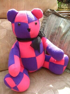 Patchwork Teddy Bear - Pink & Purple Fashion Bear - 38cm Handmade Cuddly Toy • 22£