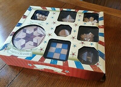 Set Of 8 Wooden Puzzles Boxed New Brain Bogglers  • 6£
