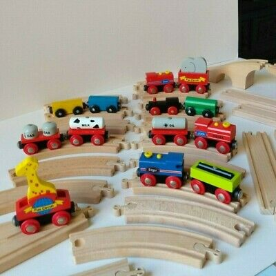 Wooden Train Set Bundle With Trains + Track - Compatible With Brio / Ikea / ELC • 40£