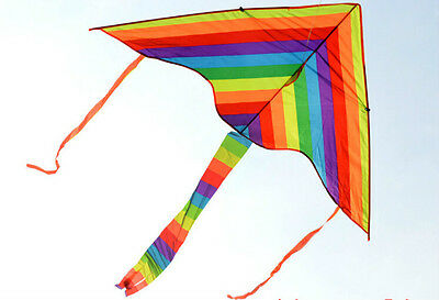 1m Rainbow Delta Kite Outdoor Sports For Kids Toys Easy To Fly   P1 F2EW • 4.72£