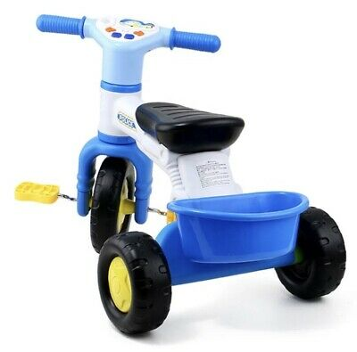 Children's Toddlers Tricycle Trike With Rear Basket Sound Blue • 20.99£