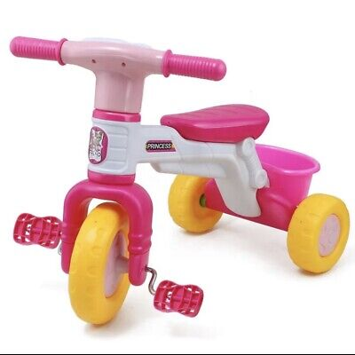 Children's Toddlers Tricycle Trike With Rear Basket Sound Pink • 20.99£