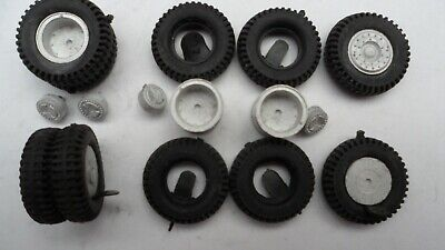 Set Of Wheels And Tyres For Heavy Haulage 3 Axle Truck, Lorry 1/50th Whitemetal. • 8.50£