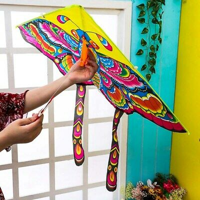 Children Butterfly Kite Kids Toy Fun Outdoor Flying Activity Game With Tail UK • 3.99£