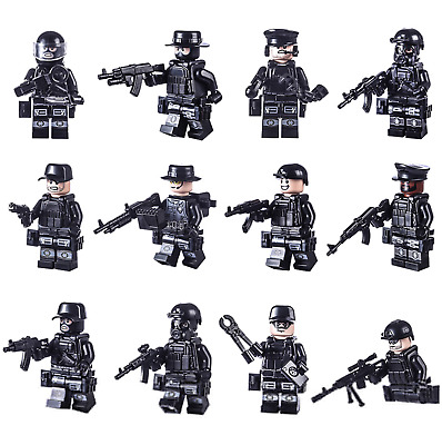 12 PCS SWAT POLICE Military Mini Figures Weapon Army Soldier Fits Lego Toys • 4.09£
