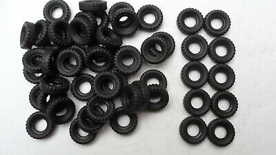50 X Dinky Reproduction Black Army Tyres, Block Tread, 17mm Diameter.  • 10£