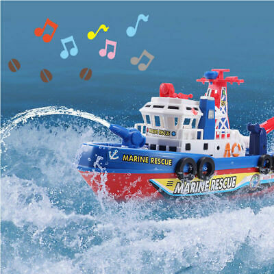 Electric Marine Rescue Fire Boat Kids Baby Shower Bath Toys With Light Music UK • 8.99£