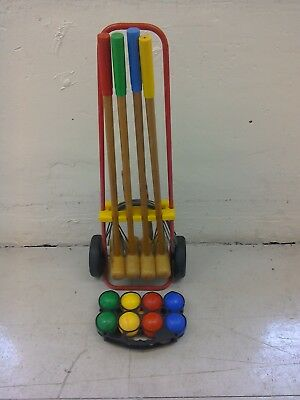 VINTAGE CHILD'S WOODEN CROQUET SET OUTDOOR GAMES On PORTABLE TROLLY • 29.99£