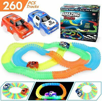 Amazing Magic Track Set Glow In The Dark Led Light Up Race Car Bend Racetrack  • 7.95£