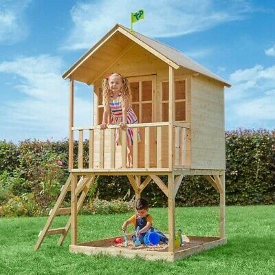 Tower Wooden Playhouse Children's Outdoor House Shaded Sandpit Area 3+ Years • 485£