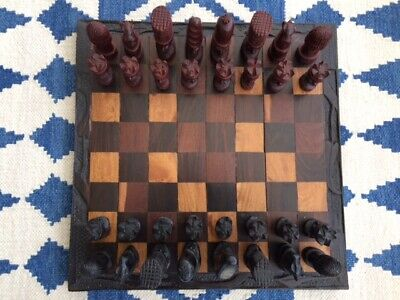 Vintage African Malawi Wooden Chess Set • 45£