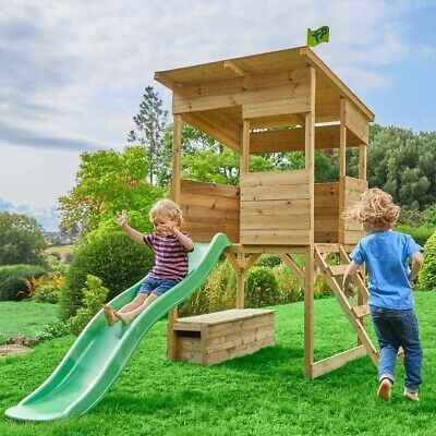 Children's Wooden Playhouse Treetop With Slide Outdoor Activity Play Garden Area • 435£