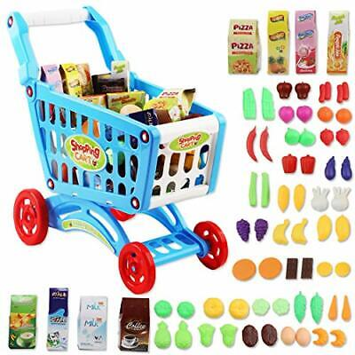 DeAO Shopping Cart Trolley For Children Play Set Includes 78 Grocery Food Fruit • 31.48£