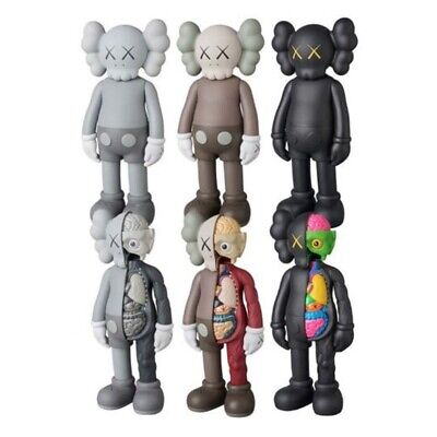 KAWS COMPANION Flayed Open Dissected BFF 8  PVC Action Figures Toys Black Grey • 12.79£
