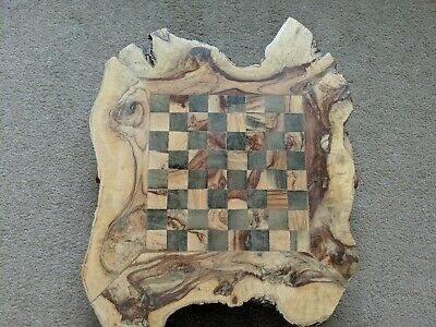 Handmade Chessboard Olive Wood Rough Edges With Pieces • 10.50£