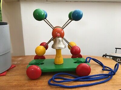Old Vintage Wooden Atomic Pull Along Bell Toy • 10£