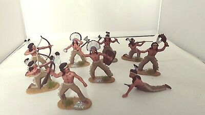 54mm/1/32?? Scale Plastic Painted Wild West Indians=9 Figures. • 10.40£