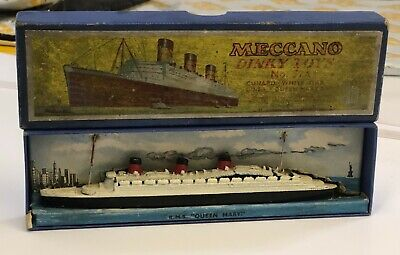 Boxed Pre-War Dinky Toys No. 52 Cunard White Star Liner Queen Mary No.534 1934-5 • 45£