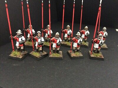 28mm Medievel / Fantasy 10 X Metal Pikemen Pro-painted (see Pics) • 10£