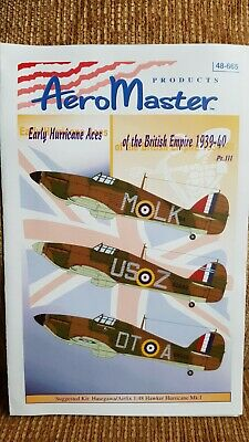 1/48 Aeromaster Hurricane Decals Early Aces 1939-40 Part 3 #48665 • 12.99£