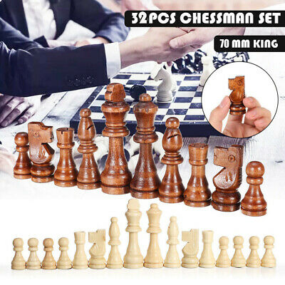 32 Piece Wooden Carved Small Chess Pieces Hand Crafted Set 70mm King DIY • 6.59£