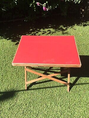 Vintage Game Craft Small  Table Wooden Folding Legs Red Plastic Top • 19.99£