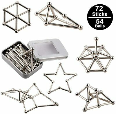 Magnetic Metal Building Sticks 72 Sticks+54/set Balls Toys Blocks Kids UK New • 11.59£
