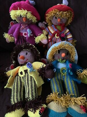"""New 1 X Hand Made Scarecrow Avail  Light Blue Only Worzels   16"""" In Size Crafted • 30£"""
