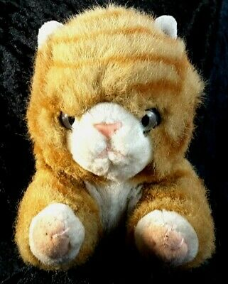 Ginger Tabby Cat White Eyes Pink Nose Stitched Mouth Paws Looks Miserable 10  • 8.99£