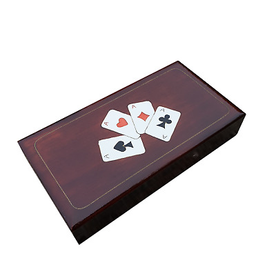 Wooden Triple Playing Cards Box In Brown Color • 16.99£