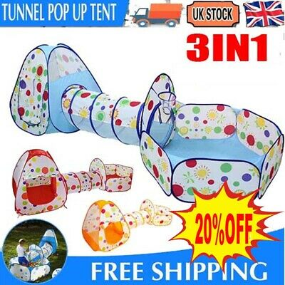 3 In1 Kids Play Tent Toddler Tunnel Ball Pit Pop Up Cubby Children Playhouse UK • 14.99£