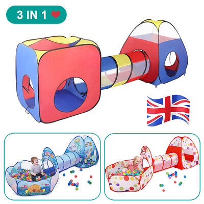Kids Play Tents Pop Up Tunnel Baby Toddler Crawl Balls Pit Playhouse Portable • 13.34£