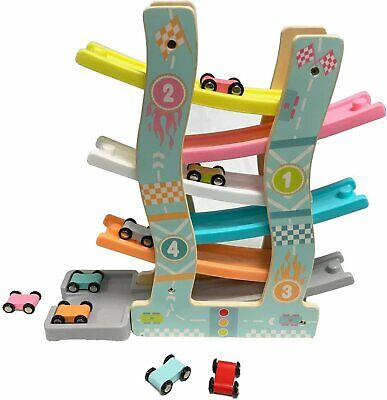 6 Layers Click Clack Racetrack Wooden Children Car Slider Race Track Toy 8 Cars • 19.99£