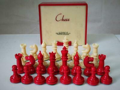 VINTAGE CHESS SET ART DECO BY ORALITE STAUNTON PATTERN K 75 Mm AND BOX NO BOARD • 174.99£
