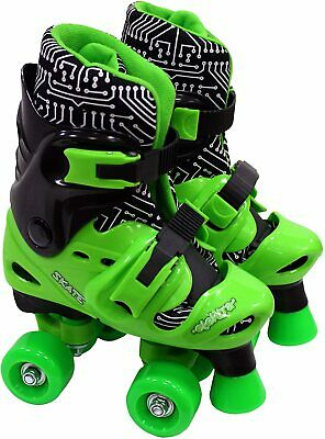 Elektra Quad Boot Adjustable Medium Black & Green 13j-2 - Skates • 29.99£
