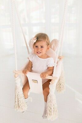 Wooden Baby Indoor Swing Seat Set With Cushions Handmade • 75£