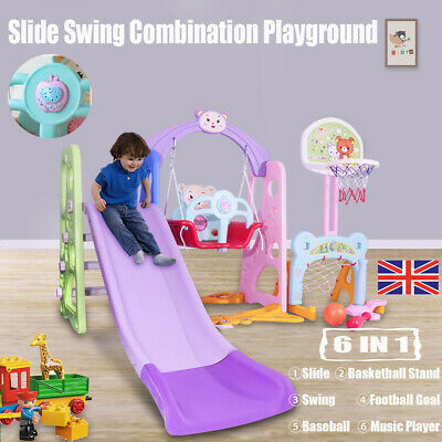 6in1 Playground Swing Set Kids Slide Play Center Baby Toddler Indoor Outdoor Toy • 75.99£