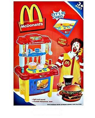 McDonalds Style Kids Kitchen Toys Role Play Pretend Cook Set Light &Sound • 33.99£