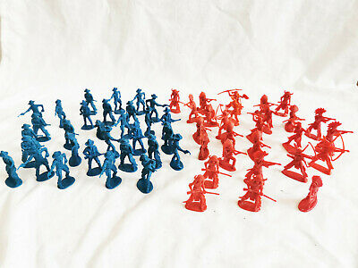 Cowboy And Indians Vintage Plastic Figures Collection Unbranded Red Blue • 19.99£