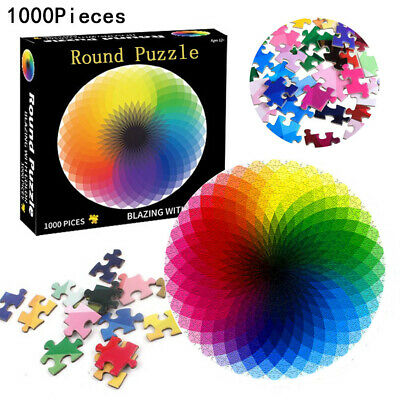 Jigsaw Puzzle 1000 Pieces Colorful Rainbow Round Educational Puzzle Adult Toy UK • 9.09£