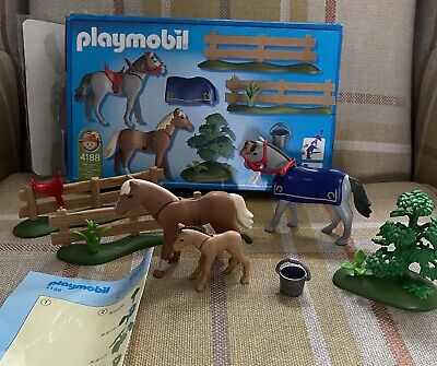 Playmobil 100% Complete Set 4188 Horses Paddock With Foal - Complete In Box • 15£