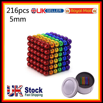 3/5mm Magnets Magic Balls Beads 3D Puzzle Ball Sphere Magnetic Toys-6 COLORS • 8.39£