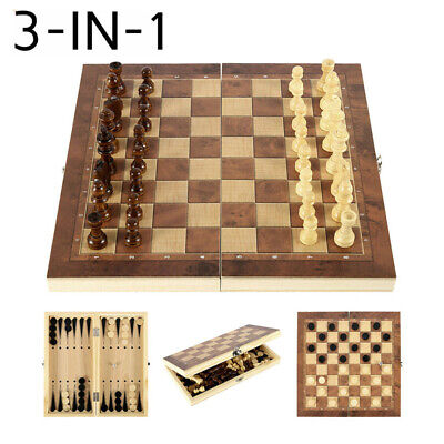 Folding Wooden Chess Set Board Game Checkers Backgammon Draughts Toy Gift • 14.34£