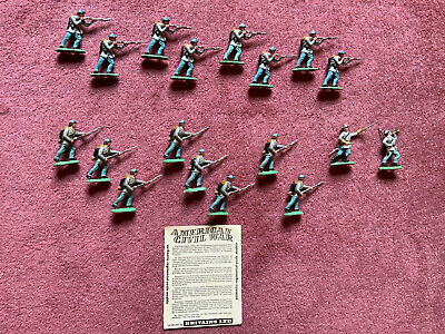 Vintage Britains Herald Acw Painted Confederate Infantry. 18 Pieces. Made In Uk. • 12£
