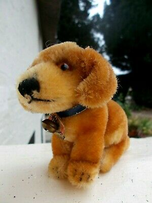 Super Cute Little Vintage Seated Mohair Steiff Dog Called  Bazi  Teddy Bears Pal • 12£