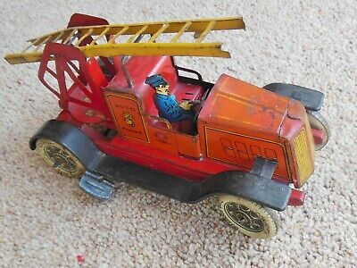 Vintage French Tinplate Fire Engine, Clockwork With Ladder And Driver, Unifrance • 85£