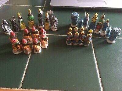 South American Bolivia Hand Painted Chess Pieces 32- Mini Figurines  • 14.99£
