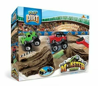 New  Play Dirt  Monster Truck Rally Play Set - 2 X Cars, Play Dirt And Roller • 19.99£